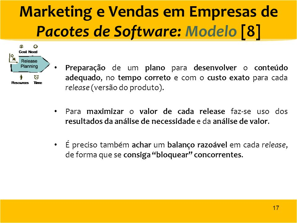 Marketing e Vendas em Empresas de Pacotes de Software: Modelo [8]